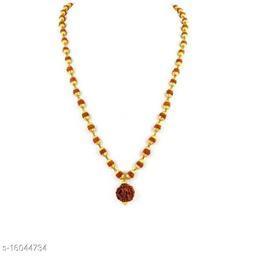 Rudraksha Mala Gold-plated Plated Brass Chain Wood Chain