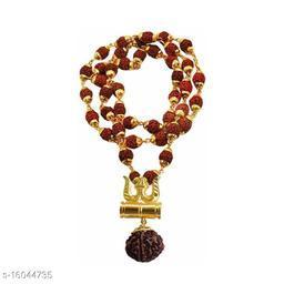Panchmukhi Rudraksha Mala with Lord Shiva Trishul DamrooPendant and Beads Gold-plated Plated Brass, Wood Chain
