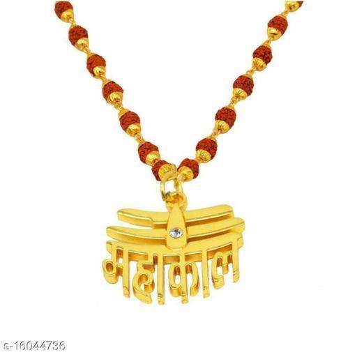 Religious Jewelry Loard Shiv Mahakal Locket With Puchmukhi Rudraksha Mala (8MM 36Beads) Gold-plated Plated Wood Chain