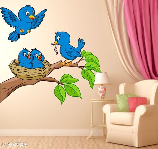 GLOBAL GRAPHICS Blue Birds Wall Sticker Bird with Tree and Baby Birds on Next Wall Sticker Multicolor decor (PVC Vinyl,size77x75cm)