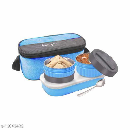 Passion Bazaar Kshipra Stainless Steel Double Decker Tiffin Insulated | Air Tight/Leak-Proof/Lunch Box Set Blue Color with 2-SS Containers & 1 Plastic Box with Cushion Bag Cover