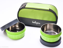 Passion Bazaar Kshipra Insulated Stainless Steel Fresh Bite 2 Lunch Box Green Color With 2-SS Containers and Cushion Bag cover| Air Tight / Leak-Proof /Lunch Box Set for Office Men, Women, School Kids