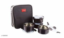 Passion Bazaar Kshipra Insulated Stainless Steel Food Time 4 Lunch Box Brown Color With 4-SS Containers & Cushion Bag cover| Air Tight / Leak-Proof /Lunch Box Set for Office Men, Women,School Kids