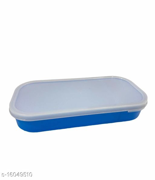 Passion Bazaar Kshipra Air-Tight Container |Leak Proof & Microwave Safe | Made With High-grade Plastic Flat Multipurpose Container Chapati Dabba Lunch Box Set for Office Men, Women School Kids-Blue
