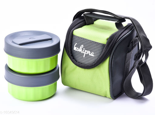 Passion Bazaar Kshipra Insulated Stainless Steel Power Lunch Box Green Color With 2 SS Containers and Cushion Bag cover | Air Tight / Leak-Proof /Lunch Box Set for Office Men, Women, School Kids
