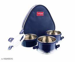 Passion Bazaar Kshipra Insulated Stainless Steel Food Time 3 Lunch Box Navy Blue Color With 3-SS Containers & Cushion Bag cover| Air Tight / Leak-Proof /Lunch Box Set for Office Men, Women,School Kids