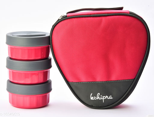 Passion Bazaar Kshipra Insulated Stainless Steel Fresh Bite 3 Lunch Box Pink Color With 3-SS Containers and Cushion Bag cover| Air Tight / Leak-Proof /Lunch Box Set for Office Men, Women, School Kids