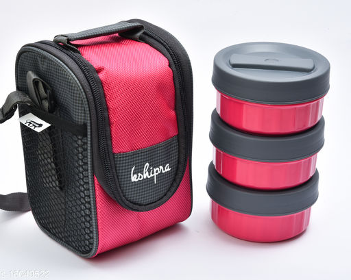 Passion Bazaar Kshipra Insulated Stainless Steel Power Lunch Box 3 Pink Color With 3 SS Containers and Cushion Bag cover | Air Tight / Leak-Proof /Lunch Box Set for Office Men, Women, School Kids