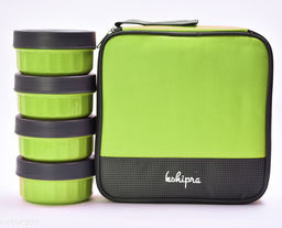 Passion Bazaar Kshipra Insulated Stainless Steel Fresh Bite 4 Lunch Box Green Color With 4-SS Containers and Cushion Bag cover| Air Tight / Leak-Proof /Lunch Box Set for Office Men, Women, School Kids