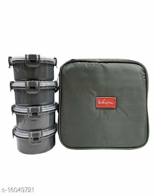 Passion Bazaar Kshipra Insulated Stainless Steel Food Time 4 Lunch Box Grey Color With 4-SS Containers & Cushion Bag cover | Air Tight / Leak-Proof /Lunch Box Set for Office Men, Women,School Kids