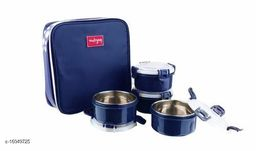 Passion Bazaar Kshipra Insulated Stainless Steel Food Time 4 Lunch Box Navy Blue Color With 4-SS Containers & Cushion Bag cover| Air Tight / Leak-Proof /Lunch Box Set for Office Men, Women,School Kids