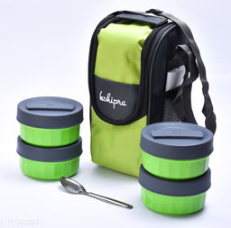 Passion Bazaar Kshipra Insulated Stainless Steel Power Lunch Box 4 Green Color With 4 SS Containers and Cushion Bag cover | Air Tight / Leak-Proof /Lunch Box Set for Office Men, Women, School Kids