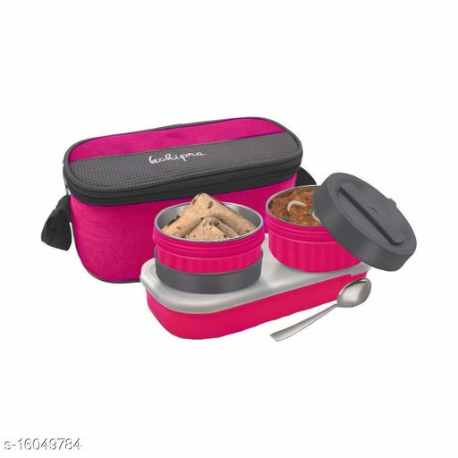 Passion Bazaar Kshipra Stainless Steel Double Decker Tiffin Insulated | Air Tight/Leak-Proof/Lunch Box Set Pink Color with 2-SS Containers & 1 Plastic Box with Cushion Bag Cover
