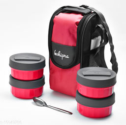 Passion Bazaar Kshipra Insulated Stainless Steel Power Lunch Box 4 Pink Color With 4 SS Containers and Cushion Bag cover | Air Tight / Leak-Proof /Lunch Box Set for Office Men, Women, School Kids