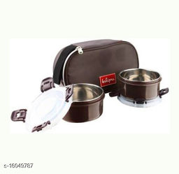 Passion Bazaar Kshipra Insulated Stainless Steel Food Time 2 Lunch Box Brown Color With 2-SS Containers & Cushion Bag cover| Air Tight / Leak-Proof /Lunch Box Set for Office Men, Women,School Kids 2 Containers Lunch Box  (450 ml)