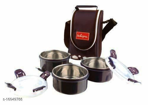 Passion Bazaar Kshipra Insulated Stainless Steel Tasty Meal 3 Lunch Box Brown Color With 3-SS Containers & Cushion Bag cover| Air Tight / Leak-Proof /Lunch Box Set for Office Men, Women,School Kids