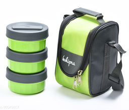 Passion Bazaar Kshipra Insulated Stainless Steel Power Lunch Box 3 Green Color With 3 SS Containers and Cushion Bag cover | Air Tight / Leak-Proof /Lunch Box Set for Office Men, Women, School Kids