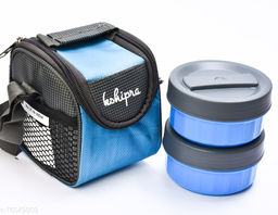 Passion Bazaar Kshipra Insulated Stainless Steel Power Lunch Box Blue Color With 2-SS Containers and Cushion Bag cover | Air Tight / Leak-Proof /Lunch Box Set for Office Men, Women, School Kids