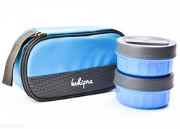 Passion Bazaar Kshipra Insulated Stainless Steel Fresh Bite 2 Lunch Box Blue Color With 2-SS Containers and Cushion Bag cover| Air Tight / Leak-Proof /Lunch Box Set for Office Men, Women, School Kids