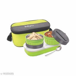 Passion Bazaar Kshipra Stainless Steel Double Decker Lunch Box Tiffin Insulated | Air Tight/Leak-Proof/Lunch Box Set Green Color with 2-SS Containers & 1 Plastic Box with Cushion Bag Cover