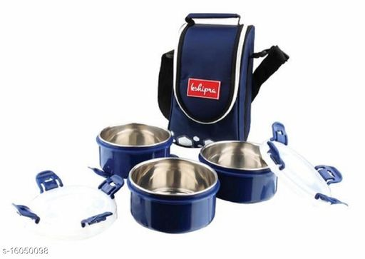 Passion Bazaar Kshipra Insulated Stainless Steel Tasty Meal 3 Lunch Box Navy Blue Color With 3-SS Containers & Cushion Bag cover| Air Tight /Leak-Proof /Lunch Box Set for Office Men, Women,School Kids
