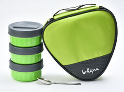 Passion Bazaar Kshipra Insulated Stainless Steel Fresh Bite 3 Lunch Box Green Color With 3-SS Containers and Cushion Bag cover| Air Tight / Leak-Proof /Lunch Box Set for Office Men, Women, School Kids