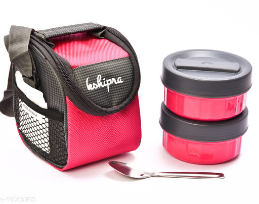 Passion Bazaar Kshipra Insulated Stainless Steel Power Lunch Box Pink Color With 2-SS Containers and Cushion Bag cover | Air Tight / Leak-Proof /Lunch Box Set for Office Men, Women, School Kids