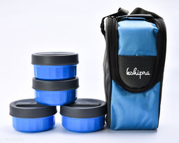 Passion Bazaar Kshipra Insulated Stainless Steel Power Lunch Box 4 Blue Color With 4 SS Containers and Cushion Bag cover | Air Tight / Leak-Proof /Lunch Box Set for Office Men, Women, School Kids