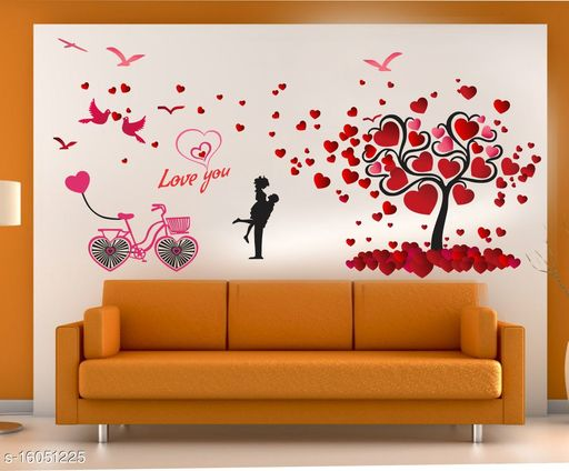 GLOBAL GRAPHICS Couple Wall Sticker Global Graphics Love Couple,Cycle with red Heart Tree Wall Sticker for Home decor (size173x87cm)