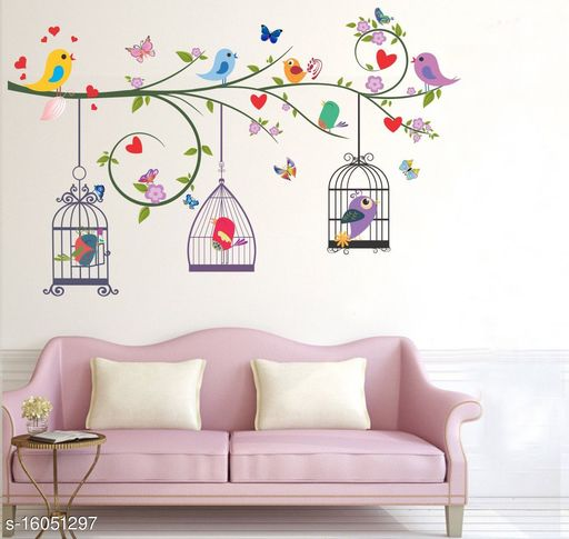 Bird and cage Wall Sticker Global Graphics Tree with Birds and Cages Wall Sticker for Living Room décor(size122x77cm)