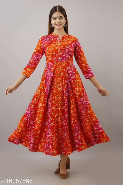 Women Rayon Anarkali Embellished Orange Kurti