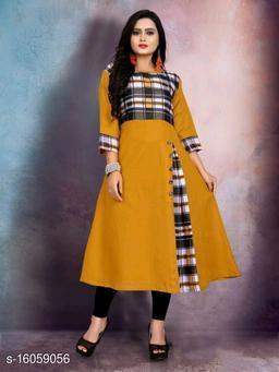 Women Cotton Anarkali Mustard Kurti