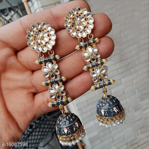 designer long jhumka earrings for women Kundan jhumki for party wear lightblue color jhumki