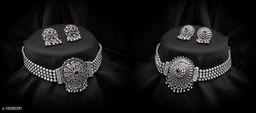 Princess Matte Silver Oxidised Temple 2 Jewellery set Combo for Women