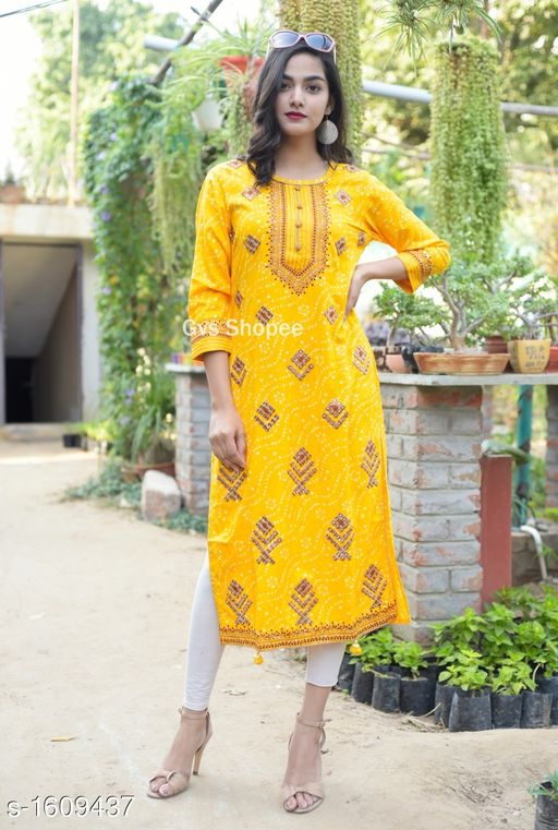 Women Rayon Slub A-line Printed Yellow Kurti