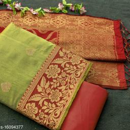 Tulip Prints Women's Banarasi Silk Green Unstiched Dress Material With Banarasi Dupatta