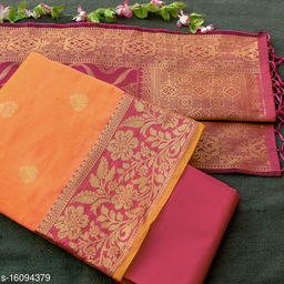 Tulip Prints Women's Banarasi Silk Orange Unstiched Dress Material With  Banarasi Dupatta