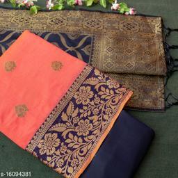Tulip Prints Women's Banarasi Silk Pink Unstiched Dress Material With  Banarasi Dupatta