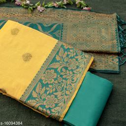 Tulip Prints Women's Banarasi Silk Yellow Unstiched Dress Material With  Banarasi Dupatta