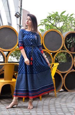 Women's Printed Cotton Anarkali Kurti