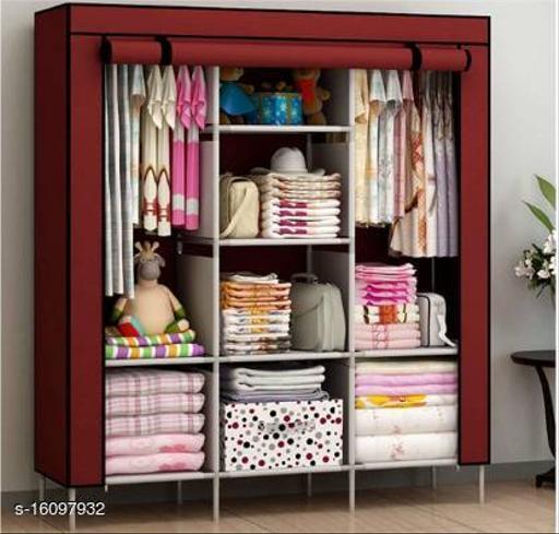 Calypso Perfect Homes Studio 8 Shelf 3 Door PP Collapsible Wardrobe  (Finish Color - Red wine)
