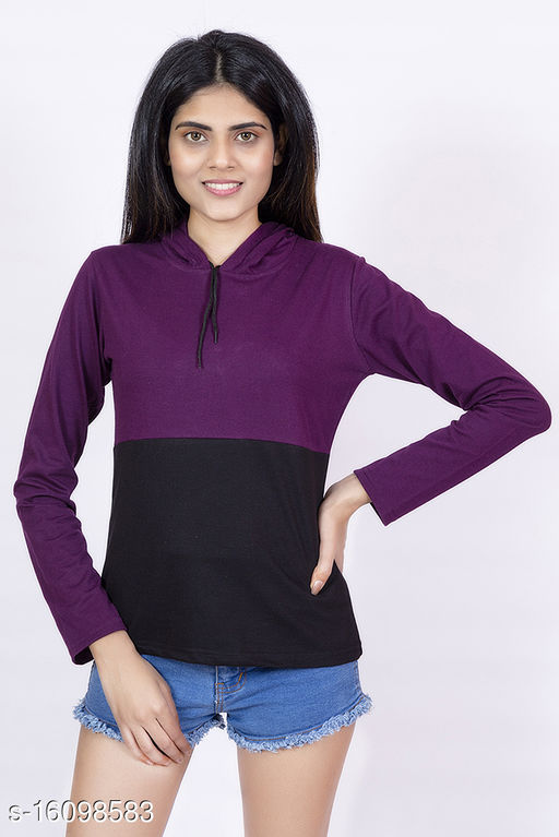 Striped Women Hooded Neck Multicolor T-Shirt