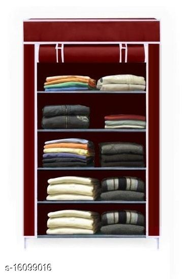 Advanced 5 shelf  High Bond PC Collapsible Wardrobe(Finish Color - Red Wine)