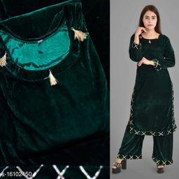 Women Velvet A-line Solid Short Kurti With Palazzos