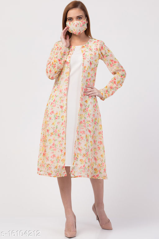 Floral calf-length asymmetric georgette dress