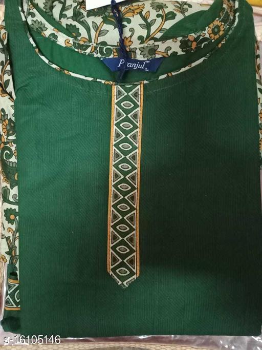 "Women's Cotton Patiala Salwar ,size""L"" with  Dark Green Top &  multocolor Bottom"