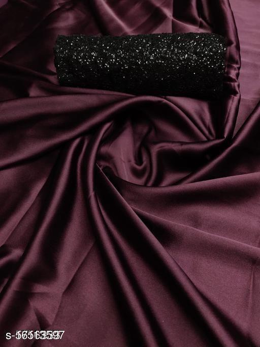 payal art Women's Plain Weave Satin Saree With black  Unstitched Blouse Piece03