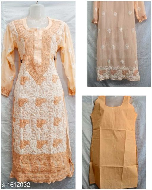 Kurtis & Kurtas Women's Embroidered Georgette Kurti  *Fabric* Kurti  *Sleeves* Sleeves Are Included  *Size* Kurti  *Length* Kurti - Up To 46 In  *Type* Stitched  *Description* It Has 1 Piece Of Kurti With Inner  *Work / Pattern* Kurti - Embroidery Work, Inner - Solid  *Sizes Available* L, XL, XXL, XXXL *    Catalog Name: Women's Embroidered Georgette Kurtis CatalogID_209679 C74-SC1001 Code: 898-1612032-