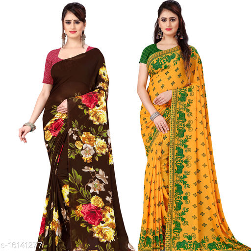 Kashvi Sarees Printed daily wear Georgette saree with Blouse Piece(Pack of 2)