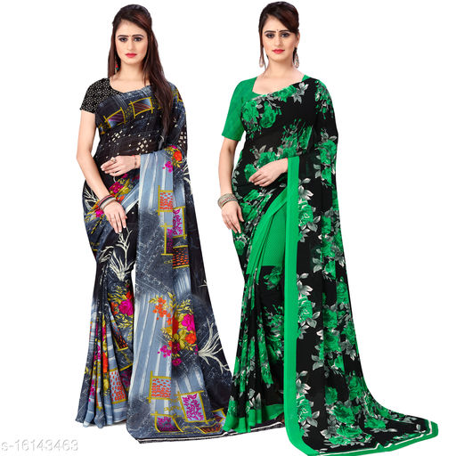 Pooja Fashion Printed daily wear Georgette saree with Blouse Piece(Pack of 2)